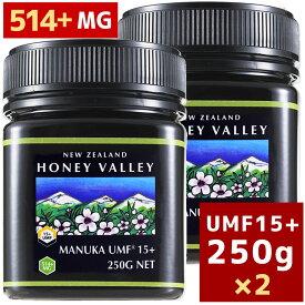 [7月中旬〜下旬より順次出荷予定][マヌカハニー][アクティブマヌカハニーUMF 15+ 250g MGO514〜828相当]★2個セット天然蜂蜜/はちみつハニーバレー(100% Pure New Zealand Honey) 6月4日19時以降のご注文は7月中旬〜下旬より順次出荷予定[HLS_DU][RCP]