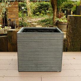 植木鉢 ファイバークレイ ストライプ 角型 40×36 ブラック