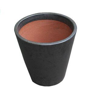 化粧鉢グレーズドラウンドポットブラック35×35(7046375)
