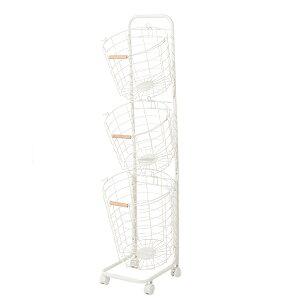 ワイヤーバスケット 3段 N9-KW34WH 洗濯かご キャスター付き ホワイト (4813316) 取寄せ商品 送料別 通常配送