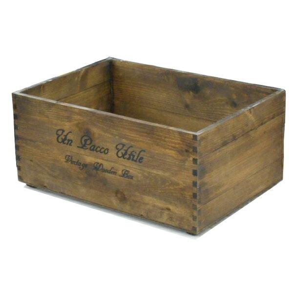 積み重ねできるフリーボックス 大 ブラウン 370×260×168 木箱 木製ボックス 収納箱 (8182787)【送料別】【通常配送】【130k4】