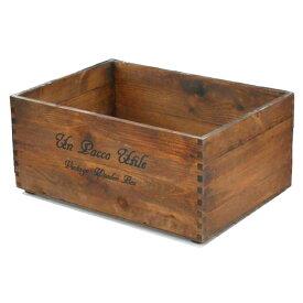 木箱 ボックス 収納ボックス / 積み重ねできるフリーボックス 大 ブラウン 370×260×168mm 8182787 送料別 通常配送 130k4 / 木製 箱 アンティークボックス ウッドボックス