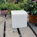 陶器鉢 植木鉢 ホワイトポット角型 Lサイズ 直径18cm×高さ18cm キューブ