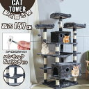 【最大2000円クーポン発行中 期間限定】 キャットタワー 据え置き 省スペース 高さ約157cm おしゃれ 爪とぎ 猫タワー …