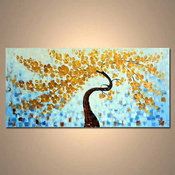 【モダン油絵工房】 油絵 現代絵画 インテリア 壁掛け 手書きモダン油絵 ナチュラルライン 木A 2FAE-1167 120×60cm