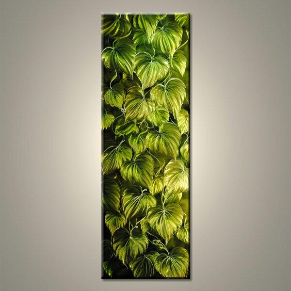 【現代アート工房】 メタルアート 現代絵画 インテリア 絵画 壁掛け 立体感のあるモダンアート ハンドメイド作品 ナチュラルライン 植物B 2FMA-393 40×120cm