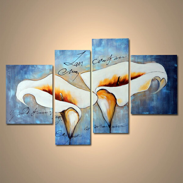 【モダン油絵工房】 油絵 現代絵画 インテリア 壁掛け 手書きモダン油絵 ナチュラルライン ユリA 2FAE-26 40×60cm 30×90cm