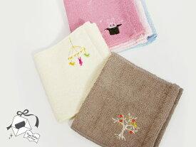 【 今治 】 つやつや ポケット ハンカチ 刺繍入り スクワラン Tsuya Tsuya Pocket towel handkerchief かわいい タオル生地 保湿 ハンカチ お祝い