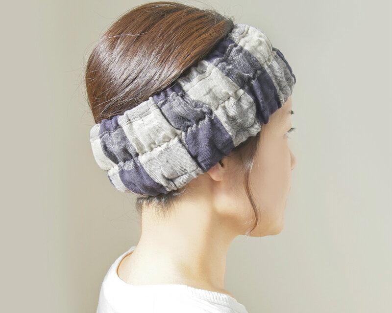【日本製・今治】柔らかエアリーオーガニック!ハネル オーガニックダブルガーゼ ブロックチェック ヘアーバンド organic dobble gauze hairband