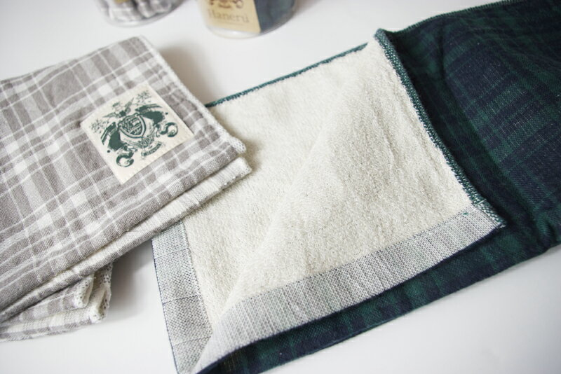 【日本製・今治】ハネル オーガニックパイルガーゼ チェック フェイスタオル organic pile gauze check towel