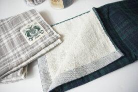【 日本製 今治 オーガニック コットン 】ハネル オーガニックパイルガーゼ チェック フェイスタオル organic pile gauze check towel (1枚まで送料無料)