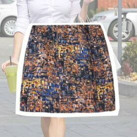 ミニスカートレディース 柄 スカート 柄デザインスカート 小さいサイズ【Orange:オレンジ×Blue:ブルー】 5号7号XS【02P03Dec16】【メール便送料無料】