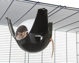 【SAVIC】ハウスにもハンモックにもなる球体型のハムスターハウスです。ベルギーサヴィッチ社製 ハムスターハンモック スプートニクXL ブラック×グレー【うさぎ フェレット ハムスター バードケージ 小動物】