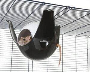 【SAVIC】ハウスにもハンモックにもなる球体型のハムスターハウスです。ベルギーサヴィッチ社製 ハムスターハンモック スプートニクXL ブラック×グレー【うさぎ フェレット ハムス