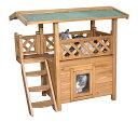 【ドイツKerbl】人気の木製2階建てキャットハウスです。ドイツKerbl社キャットタワー キャットハウス ロッジ Cat H…