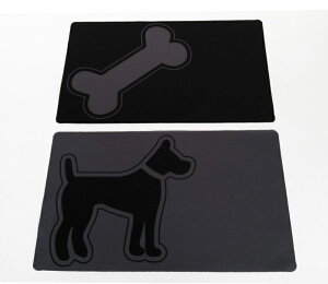 【アメリカPETSSTOP】シカゴからデザインがかわいいペット用品が登場!ペッツストップ ボウルマット ダブルダイナーフードボウルマットM DOG Gray Mat with Dog - Double Diner【ゲート サーク