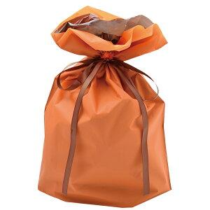 巾着袋 オレンジ 大 1P 50-4563   バッグ bag プレゼント ギフト 包装 梱包 誕生日 シンプル かわいい レジ 袋 ラッピング 包装資材 荷物入れ 買い物バッグ リボン ポーチ 無地 シンプル 単色 マチ
