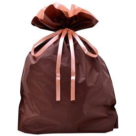 巾着袋 ブラウン 特大 50P 50-3661 | バッグ bag プレゼント ギフト 包装 梱包 誕生日 シンプル かわいい レジ 袋 ラッピング 包装資材 荷物入れ 買い物バッグ リボン ポーチ 無地 シンプル 単色 マチあり マチ付き バレンタイン ホワイトデー クリスマス イベント