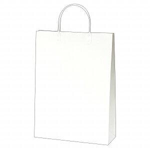 手提げバッグ マット白 L 50-6620 | バッグ bag 紙バッグ 紙袋 手提げ袋 マチあり プレゼント ギフト 包装 梱包 誕生日 ギフト シンプル かわいい おしゃれ アクセサリー 小物 レジ 袋 雑貨 店舗