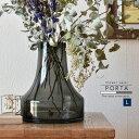 フラワーベース ガラス 北欧 大きい 枝物Lサイズ:約20cm丸×28cm(口径:9cm) グレー クリア花瓶 フラワーベース ガ…