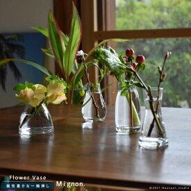 フラワーベース 北欧 ガラス 一輪挿し かわいい クリアグラス【2021年モデル】Sサイズ クリア 4種類花瓶 フラワーベース ガラス ダイニング おしゃれ ミニ 人気 シンプル デザイン 小さいMignon ミニヨン