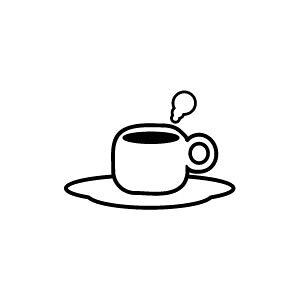 ゴム印/イラストスタンプ 8×8mm【コーヒー】B-016[スタンプ/はんこ/判子/ハンコ/ワンポイント 定型 イラスト/かわいい/可愛い/おしゃれ]【メール便配送対応商品】