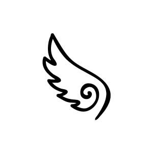 ゴム印/イラストスタンプ8×8mm【天使の羽】D-006【印鑑はんこ実印ハンコ銀行印認印かわいいシャチハタ訂正印いんかん】