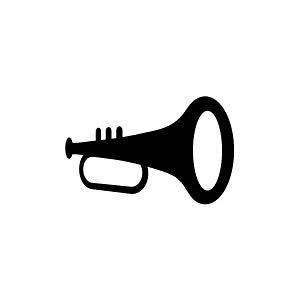 ゴム印/イラストスタンプ 8×8mm【トランペット】E-005[スタンプ/はんこ/判子/ハンコ/ワンポイント 定型 イラスト/かわいい/可愛い/おしゃれ]【メール便配送対応商品】
