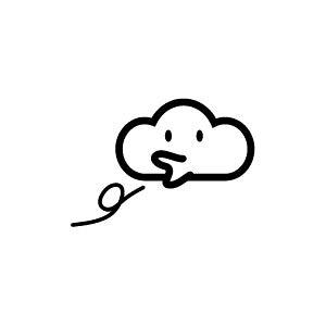 ゴム印/イラストスタンプ 8×8mm【くもり】G-010[スタンプ/はんこ/判子/ハンコ/ワンポイント 定型 イラスト/かわいい/可愛い/おしゃれ]【メール便配送対応商品】
