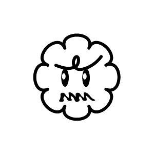 ゴム印/イラストスタンプ 8×8mm【ウーン-雲】H-007[スタンプ/はんこ/判子/ハンコ/ワンポイント 定型 イラスト/かわいい/可愛い/おしゃれ]【メール便配送対応商品】
