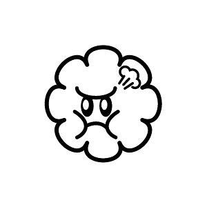 ゴム印/イラストスタンプ 8×8mm【プンプン-雲】H-009[スタンプ/はんこ/判子/ハンコ/ワンポイント 定型 イラスト/かわいい/可愛い/おしゃれ]【メール便配送対応商品】