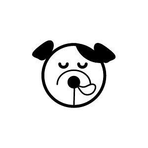 ゴム印/イラストスタンプ 8×8mm【居眠り-犬】H-013[いぬ/スタンプ/はんこ/判子/ハンコ/ワンポイント 定型 イラスト/かわいい/可愛い/おしゃれ]【メール便配送対応商品】