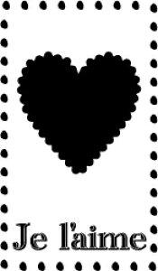 ゴム印/タグスタンプ 23×39mm/tag2339-013 「Je l'aime」[スタンプ/英字/定型 ゴム印/はんこ/ハンコ/判子/かわいい/可愛い/おしゃれ]