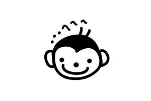 ゴルフボールスタンプ/マイボールスタンプ/キャラクターアイコンタイプ【No.2 サル】[ボールスタンプ/イラスト スタンプ/印鑑/はんこ/ハンコ/判子/父の日/ギフト プレゼント/ゴルフコンペ 景