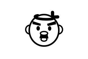 ゴルフボールスタンプ/マイボールスタンプ/キャラクターアイコンタイプ【No.20 ハチマキ】[ボールスタンプ/イラスト スタンプ/印鑑/はんこ/ハンコ/判子/父の日/ギフト プレゼント/ゴルフコン