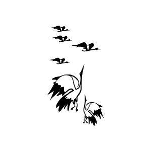 定型ゴム印 年賀スタンプ 28×51mm イラストタイプ NENGA-2851-017(鶴)[年賀状 スタンプ/ゴム印 事務用品/はんこ/ハンコ/判子]