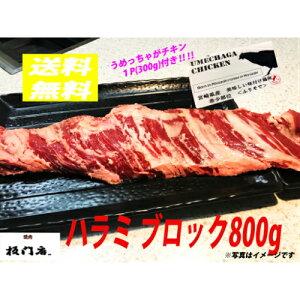 【焼肉 板門店 業務用牛ハラミブロック 柔らか赤身 3〜4人前 低タンパク質 高カロリー ステーキ 焼肉 BBQ 約800g】