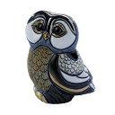 送料無料青フクロウ親 F128ふくろう フクロウ 梟 オウル 福 縁起物 幸せ 陶器 置物 動物 おしゃれ かわいい 贈り物 プレゼント