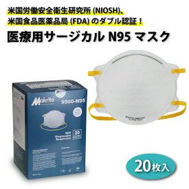 【スーパーSALEポイント最大44倍】医療用 N95 マスク サージカル レスピレーター 感染予防 【20枚入】