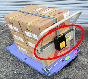 ナンシン製 【荷締め機】≪台車DSK-301型専用≫ 台車取付用 荷崩れ防止ベルト ラッシングベルト(台車の積載物をしっかりベルトで固定し、崩さないように運搬する道具です。黒いBOXと取付