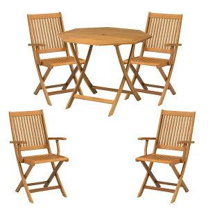 先行予約 9月下旬入荷予定 テーブル イス セット 木製 ダイニングテーブル ユーカリ材 ナチュラル ガーデンパラソル テラス バルコニー 折りたたみ 完成品 【メーカー直送/代金引換・同梱