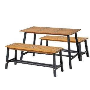 先行予約 11月上旬入荷予定 テーブル ベンチ セット ファニチャー 木製 天然 ユーカリ材 ナチュラル ガーデンパラソル カフェ テラス バルコニー 組み立て 【メーカー直送/代金引換・同梱不