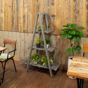 木製シェルフ ガーデニングフェニチャー ツリーシェルフシャビーグレー オシャレ 天然木 アカシア 棚 ガーデンラック花壇棚 花フラワースタンド プランターラック