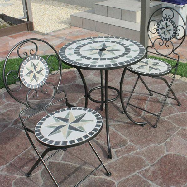 モザイクタイルテーブル 3点セット φ60cm モスグリーン/ガーデンファニチャーセット」ガーデンテーブル/送料無料/RCP/05P03Sep16/【HLS_DU】