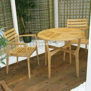 ロータステーブル(φ80) 3点セット / ガーデンファニチャーセット / ガーデンテーブルセット / ガーデンテーブル / ガーデンチェアー / ベランダ / テラス / チーク製/smt