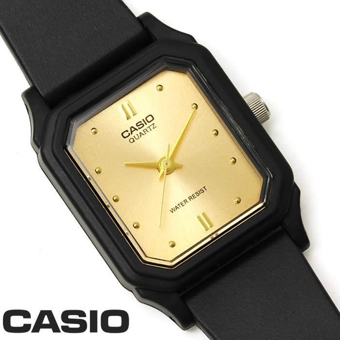 【あす楽】チプカシ 腕時計 アナログ CASIO カシオ チープカシオ ウレタンベルト LQ-142E-9A レディース 細身 シンプル 軽量 ブラック レクタンギュラー ゴールド 激安 スタンダード プレゼント ギフト 人気 WATCH うでどけい【CASIO STANDARD】