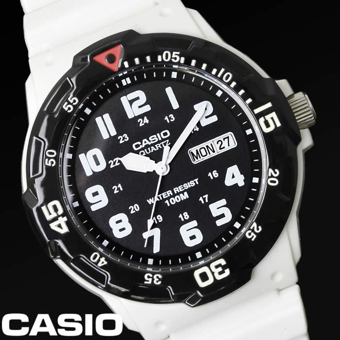 【あす楽】チプカシ 腕時計 アナログ CASIO カシオ チープカシオ メンズ MRW-200HC-7B ダイバーズウォッチ ウレタンバンド ブランド スポーツ カジュアル 人気 激安 プレゼント ホワイト ブラック ギフト 特価