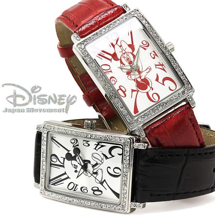腕時計 ディズニー Disney ミッキーマウス ミニーマウス ユニセックス メンズ レディース 革ベルト レザー レクタンギュラー ペアウォッチ 人気 プレゼント 激安 WATCH とけい うでどけい 特価 セール【腕時計】【ディズニー】【キャラクター腕時計】