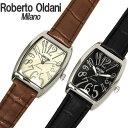ロベルト・オルダーニ 腕時計 メンズ トノー型 RO-163 アナログ Roberto Oldani ブランド 革ベルト レザーベルト 樽型…