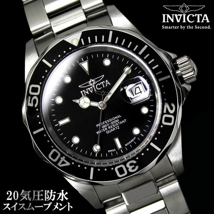 腕時計 メンズ ダイバーズウォッチ INVICTA インビクタ 9307 時計 防水 プロダイバー ブランド ダイバーズ ブラック 黒 シルバー 人気 プレゼント ギフト 激安 特価 うでどけい とけい WATCH【腕時計】【メンズ】【ブランド】